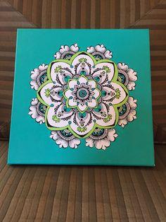 Azul y verde mandala por Hennamama en Etsy