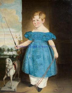 FINE SOUTHERN FULL-LENGTH PORTRAIT, oil on canvas, of a young boy in blue embroidered dress flanked by his horse pull toy and holding a braided riding crop, plantation house and mountains in the distance. Contemporary frame. Discovered in Charleston, South Carolina in the early 1980's. Circa 1825-1850.Provenance: Collection of the late John and Lil Palmer, Purcellville, VA. Purchased from Mary Coker, Middleburg, VA,