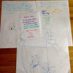 Tekeningen en briefjes bij het afscheid van Anastasia de dwerghamster.