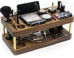 Makeup organizer with docking station, beauty station, brush holder
