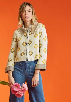 Somethin' Swingy Floral Cardigan by ModCloth - Yellow, Yellow, Floral, Casual, Boho, 3/4 Sleeve, Spring, Best, Exclusives, Collared, Variation, Private Label, Knit, Short, ModCloth Label
