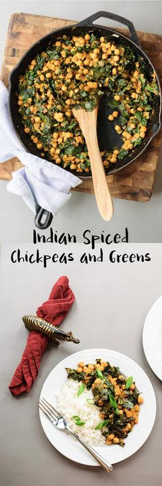 Indian spiced chickpeas and greens is a quick and easy dry curry. It's delicious with kale or any greens you have on hand! Pantry & weeknight friendly. Gluten free and vegan recipe. | thecuriouschickpea.com #vegan #veganindian