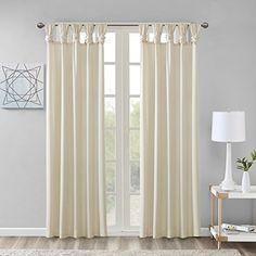 "Comfort Spaces Ekko Microtwill DIY Twisted Tab Window Curtain Panel Pair, 50""x84"", Ivory"