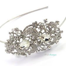 Girls double Wired Silver Crystal Diamante Rose design Headband in Lilac