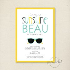 Sunshine Birthday Invitation // You are my by papernoteandco, $15.00