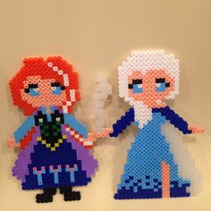 Ana and Elsa - Frozen hama perler beads by xiqueta82