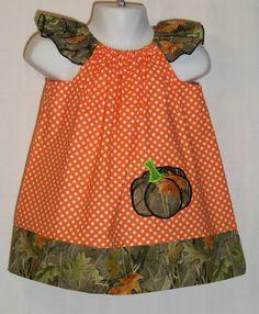 Pumpkin ~ Camo  Orange Polka Dot Dress / Fall / Cute / Girl / Baby / Infant / Toddler / Kids / Custom Boutique Clothing on Etsy, $34.95