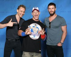 Tom Hiddleston, John Cena, and Chris Hemsworth