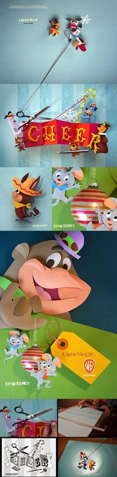 Cut paper 2014 holiday greeting card for Warner Bros. Studios Animation | Designer: Kevin Kidney