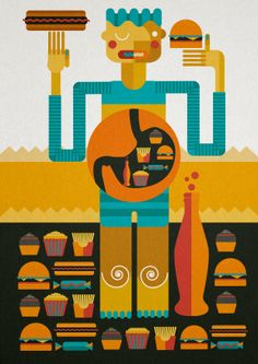 Junk food, editorial, infographic illustration