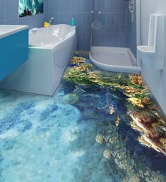 Flooring Ideas for Bathroom How to install bathroom floor mural, the price of floor. Our floor ideas and epoxy floor design will help you in selecting and installing your floo… 3d Floor Art, Floor Murals, Wall Murals, 3d Flooring, Bathroom Flooring, Flooring Ideas, Bathroom Tiling, Office Bathroom, Epoxy 3d