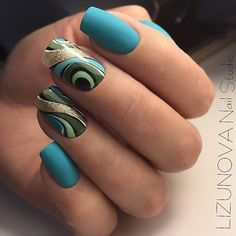 Ocean blue in matte with all shades of green swirl! Beautiful nails by @ elenochka_lizunova_ - Ugly Duckling Nails page is dedicated to promoting quality, inspirational nails created by International Nail Artists #nailartaddict #nailswag #nailaholic #nailart #nailsofinstagram #nailart