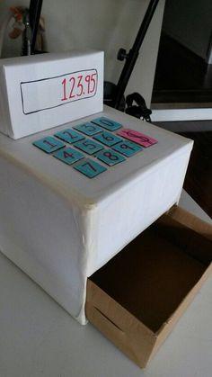 cardboard cash register | Cardboard cash register for my girl's Play School party!