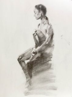 """TONAL CHARCOAL DRAWING  Drawing, Charcoal on Paper, 24.0""""h x 18.0"""""""