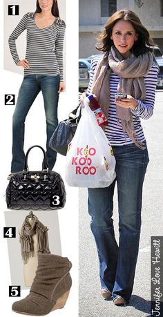 [I like the scarf] Jennifer Love Hewitt - The Budget Babe Jennifer Love Hewitt, Jennifer Garner, Melinda Gordon, Pear Shaped Celebrities, Fall Winter Outfits, Autumn Winter Fashion, Looks Style, Style Me, White Jeans Outfit
