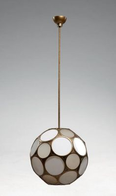 Jean Perzel; Brass and Glass Ceiling Light, 1930s.