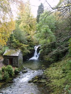 small Rydal Falls on grounds of Rydal Hall