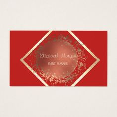 Elegant Sophisticated Professional Geometric Red Business Card - event gifts diy cyo events