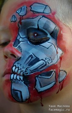 Half-face Terminator. Face paint by Tanya Maslova.