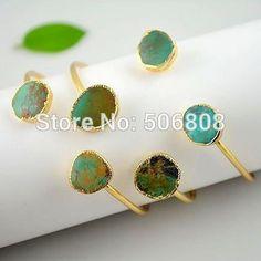 10pcs Natural Turquoise Stone Bracelet Bangles Gold Plated Freeform Natural Turquoise Adjustable Bangle Quartz Druzy Jewelry