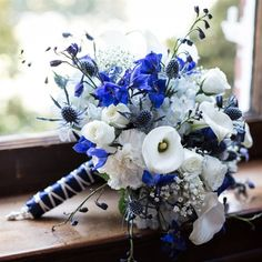 Blue and White Bouquet With Calla Lillies, Roses / FF