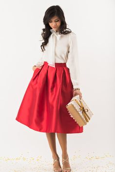 Midi Skirts, Mid Length Skirts, Holiday Outfit Inspiration, Red Skirts, Bold Skirts for Women – Morning Lavender