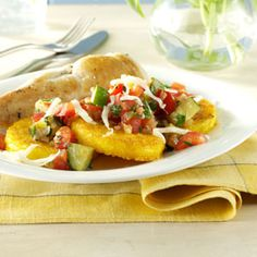 Veggie-Topped Polenta Slices Recipe- Recipes  This amazing side dish recipe came from a stroke of genius when I didn't have many ingredients on hand. —Jenn Tidwell, Fair Oaks, California