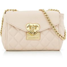 Love Moschino Quilted Heart Clasp Shoulder Bag ($205) ❤ liked on Polyvore featuring bags, handbags, shoulder bags, cream, pink shoulder handbags, pink shoulder bag, man shoulder bag, long strap purse and shoulder handbags