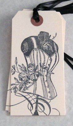 6 Dress Form corset Roses Gift Tags by Judyscrafts on Etsy, $5.99