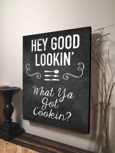 Hey Good Lookin What Ya Got Cookin Family Home Wall Art Digital Printed Wood Pallet Design on Wood Rustic Wall Hanging 11x16