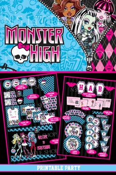 Monster High inspired printable party kit. All you need to have a wonderful birthday party.