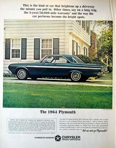 """Vintage Automobile Advertising: 1964 Plymouth """"Get Up and Go Plymouth!"""", Look Magazine, December 3, 1963."""