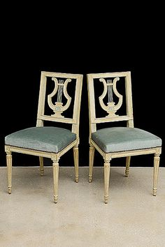 Set of 6 French Antique Louis XVI-style Lyre-back Painted Dining Chairs
