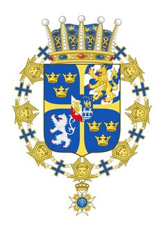 Coat-of-arms for Prince Bertil, Duke of Halland paternal uncle of King Carl XVI Gustaf of Sweden and a maternal uncle of Queen Margrethe II of Denmark and Queen Anne-Marie of Greece. Medieval, Badges, Prinz Carl Philip, Swedish Army, Royal Families Of Europe, Queen Margrethe Ii, Princess Victoria Of Sweden, Queen Victoria, Prince Daniel