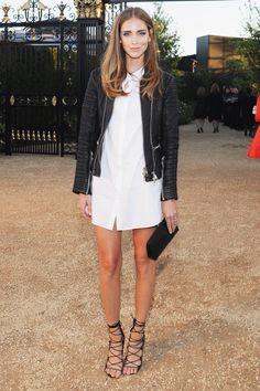 Shirt dress + strappy heels Chiara Ferragni