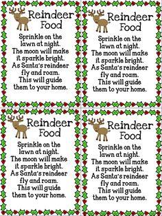 Reindeer food:  cup oatmeal, ground cinnamon, white sugar,  red sugar crystals, green sugar crystals, sparkles