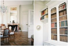French wedding photographer in Burgundy French Chateau, French Wedding, French Interior, France, Bookcase, Burgundy, Shelves, Paris, Home Decor