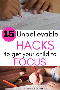 "Elementary school hacks to help your child focus better. You lose sleep worried ""How can I help my child focus?"" Learn amazing focusing tips for home and school. #www.explorekidtalk.com #focusingtipsforkids #focusingtipsproducts"