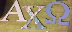 SARA ♚ SHREEVE INSTA: Little Caitlyns mosaic alpha chi omega sorority letters Sorority Canvas, Sorority Paddles, Sorority Recruitment, Painted Sorority Letters, Kappa Alpha Theta, Alpha Chi Omega, Delta Gamma, Sorority Big Little, Big Little Gifts