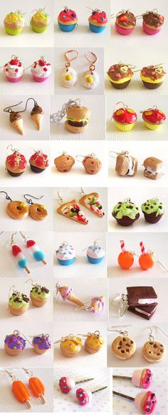Moar Goodies by Shembre - Clay Ideas - Pasta Rezepte Polymer Clay Kawaii, Fimo Clay, Polymer Clay Projects, Polymer Clay Charms, Polymer Clay Art, Polymer Clay Earrings, Clay Crafts, Diy Cadeau Noel, Cute Clay