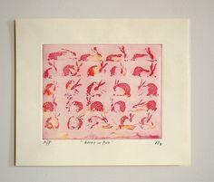 Etching print pink bunny in motion original by PrintsbyMariko