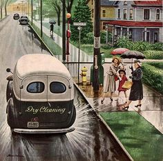 Dry Cleaning service rustling up some business... - by Stevan Dohanos - (famous for Saturday Evening Post covers, artist, illustrator, rainy day, splash)