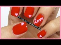 Valentine's Day Love Nails - Nail Art Designs - Easy Nail Designs. Video Tutorial