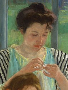 """Mary Cassatt ~ """"Young Mother Sewing"""" 1902"""