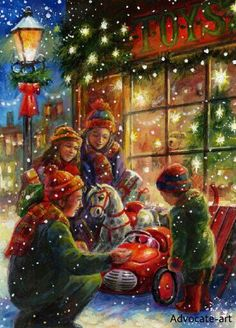 christmas art for greetings card design. Artist representation by advocate-art Christmas art Jim Mitchell Old Time Christmas, Christmas Scenes, Old Fashioned Christmas, Merry Little Christmas, Christmas Past, Christmas Toys, Christmas Greetings, Winter Christmas, Christmas Shopping