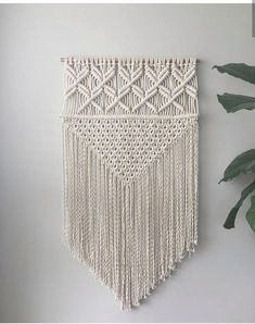 Bohemian macrame wall hanging will make your room decor or wedding party just perfect! Size item length - 32 inches cm) width - 16 inches cm) Please note: wooden stick will vary with each order! I use only natural wood Materials cord - cotton wooden stick Macrame Design, Macrame Art, Macrame Projects, Macrame Plant Holder, Modern Nursery Decor, Arts And Crafts, Diy Crafts, Large Wall Art, Weaving