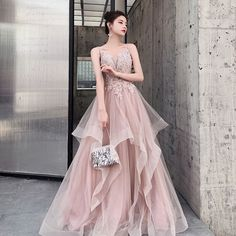 Charming Pink Evening Dresses A Line 2020 Spaghetti Straps Beading Lace Flowers Sleeveless Backless Falling Ruffle Long Formal Dresses - Bal de Promo Pink Evening Dress, Pink Dress, Evening Dresses, Full Gown, Elegant Dresses, Formal Dresses, Girl Fashion, Fashion Dresses, Homecoming Dresses