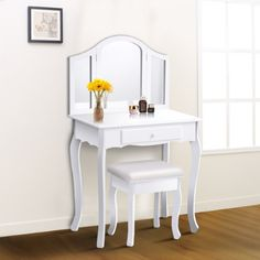 WATERJOY Vanity Set, Dressing Makeup Vanity Table Set with Tri-Folding Mirror & Cushioned Stool for Bathroom, Bedroom (White) White Makeup Vanity, Makeup Table Vanity, White Vanity, Makeup Stool, Makeup Tables, Makeup Desk, Vanity Table Set, Vanity Set With Mirror, Dining Room Table Chairs