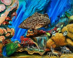 Underwater reef painting with vibrant color by Steve Ozment