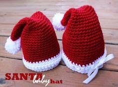 Crochet Santa Hats for Boy and Girl - Tutorial.